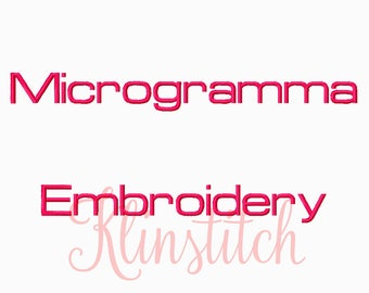 50% Sale!! Microgramma Embroidery Fonts 4 Sizes Fonts BX Fonts Embroidery Designs PES Fonts Alphabets - Instant Download