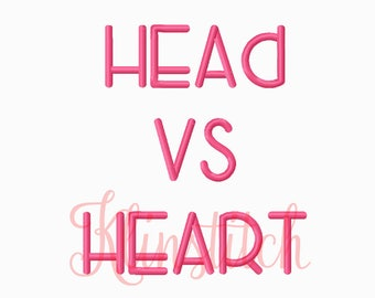 50% Sale!! Head Vs Heart Embroidery Fonts 5 Sizes Fonts BX Fonts Embroidery Designs PES Fonts Alphabets - Instant Download