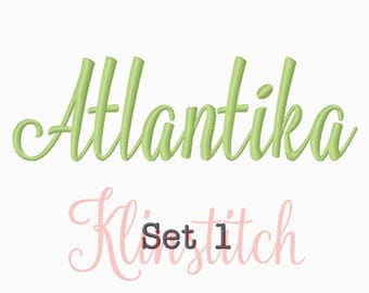 50% Sale!! Set 1 Atlantika Embroidery Fonts 5 Sizes Fonts BX Fonts Embroidery Designs PES Fonts Alphabets - Instant Download