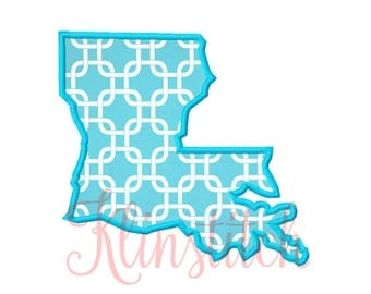 50% Sale!! Louisiana State Applique Designs 9 Sizes Embroidery Designs USA State Outline Embroidery PES Embroidery Designs