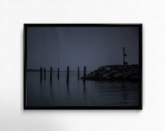 Harbor, marina, water, lighthouse, sea, bird, night, print, digital download, interior, design, Photography, picture, Denmark, Samsø, Sail