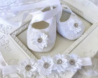 Baby Girl White Christening Baptism Shoes Satin Flowers Rhinestones Headband Set