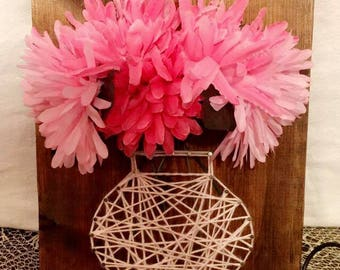 Floral String Art Wall Plaque