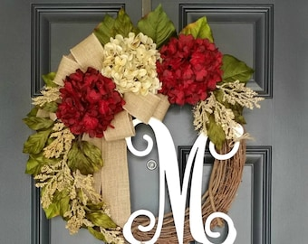 Front Door Wreath,Spring Wreath,Valentine's Wreath,Grapevine Wreath,Red Hydrangea Wreath,Farmhouse Decor,Rustic Wall Decor,Mother's Day