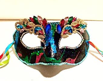 Vivid, festival attire, party mask, halloween, masquerade, Mardi Gras mask, rhinestone mask,  glitter mask, paper mask, painted mask, ribbon