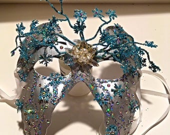 Frostbite, party mask, festival mask, winter mask, masquerade, cosplay mask, Halloween mask, festival accessory