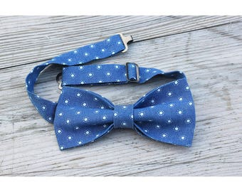 Blue denim dotted bow tie