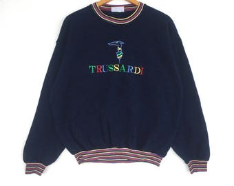 Trussardi Sweatshirt navy blue colour Big Logo Embroidery Sweat Medium Size Jumper Pullover Jacket Sweater Shirt Vintage 90's