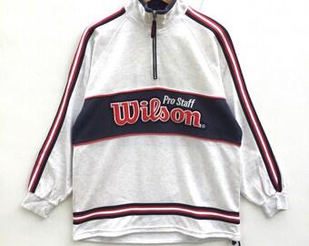 Wilson sweatshirt half zipper sidetape colour Block Big Logo Embroidery Sweat Medium Size Jumper Pullover Jacket Sweater Shirt Vintage 90's