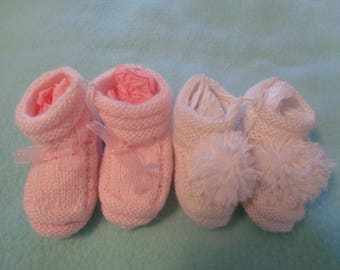 Baby Booties Hand Knit. Choice of two colors.