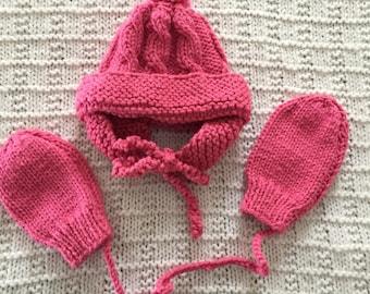 Knit pink hat mitten set