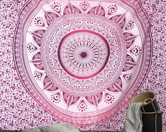 Boho Queen Size Mandala Tapestry - Pink Sun