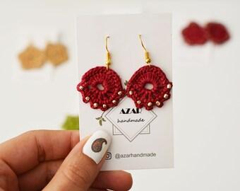 Crochet knitted fan shaped earrings with glass beads