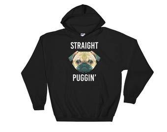 Straight Puggin' Pug Dog Breed Hooded Sweatshirt