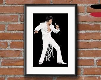 Elvis Presley Jumpsuit Premium Print Wall Art Poster