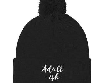 Adult-ish Pom Pom Knit Cap
