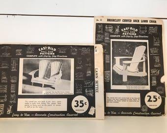 Vintage Pattern Easi-Bild Bench & Chair, 1940s, Outdoors, Indoor, Patio, Woodworking