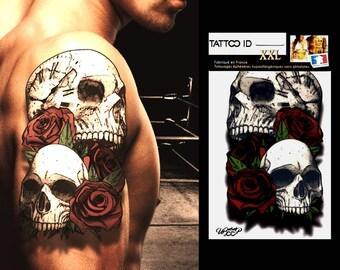 TATTOOID XXL SKULL2 skulls tattoo ephemeral temporary hypoallergenic made in FRANCE 1 boards 22 x 14, 5cm man woman