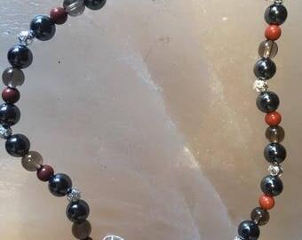 Crystal Anklet for grounding, hematite, red jasper & smokey quartz