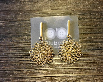 Earring wired crochet gold plating