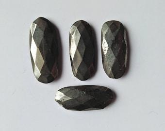 Pyrite Cutting Gemstones, 4 Piece Pyrite Cut Gemstone Good Shape Best Quality Craft Supplies Mirror Polished Gemstone For Making Jewellery.