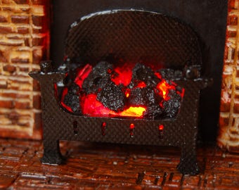 Miniature Fireplace-Dolls house fireplace-1/12th scale-Fieldstone farmhouse rustic fireplace with light