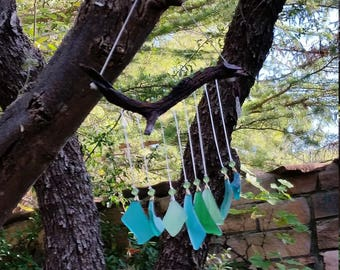 Tumbled Glass Wind chimes-sun catcher-wood-beads-Glass-Sea glass-Green