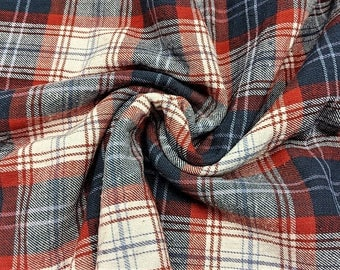 "Vintage Cotton Flannel Craft Fabric Home Decor Fabric 3 1/4 Yards 44"" wide Even Plaid"