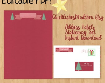 DIY Merry Christmas Address Labels - Digital Download - Print on Your Own Sticker - PDF Editable - 3 Different Label Types for Ease