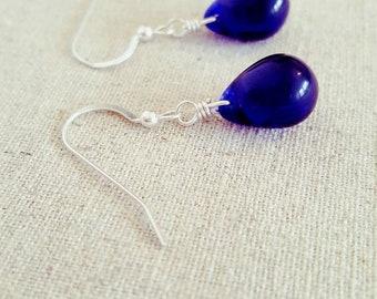 Blue Dangle Earrings • Blue Drop Earrings • Blue Glass Earrings • Blue Teardrop Earrings • Dark Blue Earrings • Deep Blue Earrings • Cobalt