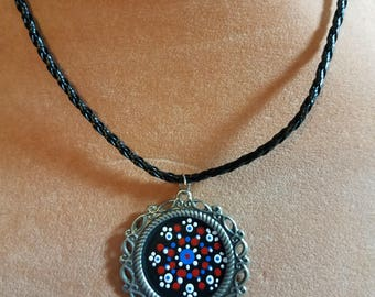 """Hand Painted Multi-color Mandela with 18"""" black braided faux leather necklace"""
