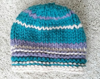 chunky knit handmade hat. teal, natural, purple stripe