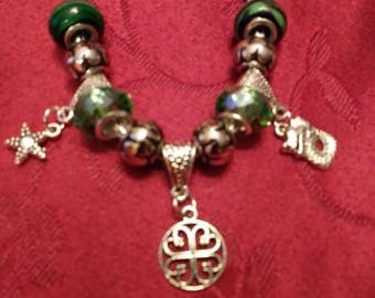 Cute Irish or St. Patrick's Day Murano Bead Charm Bracelet with Dragon