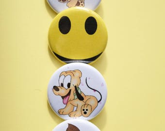Button pins/cute pic button back pin/handmade/dog pin/smile face pin/