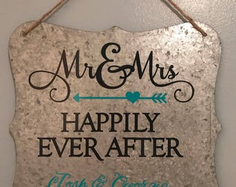 Rustic metal Wedding sign with a jute hanger