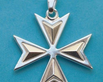 Sterling Silver 925 Maltese Cross Pendant Pendente Knights Eight Points