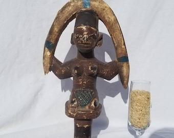 TRIBAL EXOTICS : PREMIUM Authentic fine tribal African Art - Yoruba Yorouba Shango Chango Wand Wood Figure Sculpture Statue Mask