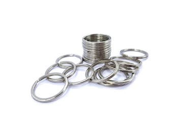 30mm Flat Split Ring Stainless Steel with Silver Plated Finish, 10, 25, 100pc With or Without Chain
