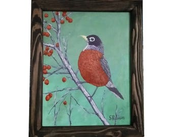 Robin and Berries with frame