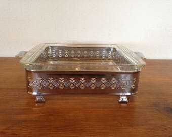 Vintage Pyrex Square Casserole #222 with Metal Holder