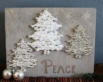 Three Tree Rustic Wooden Christmas Tree String Art Hand Lettered Sign