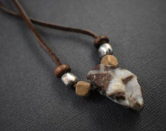 Necklace -Reddish-Brown/White raw/unpolished mineral stone pendant necklace