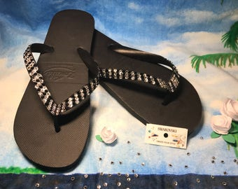 Flip Flops embellished with Swarovski Crystals