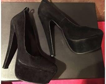 black, velvet high heels