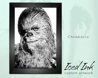 "Framed Ink canvas, Chewbacca of Star Wars, Art Print original, hand-drawn in ink and pencil, A3+ (16x20"")"