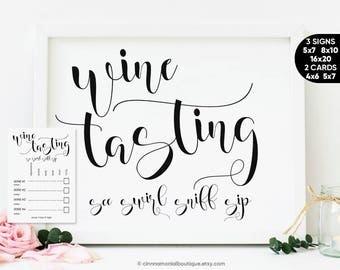 Wine Tasting Sign, Wine Theme Bridal Shower Games Tasting Party Decorations, Wine Tasting Bachelorette Party Décor Wine Tasting Cards Wine