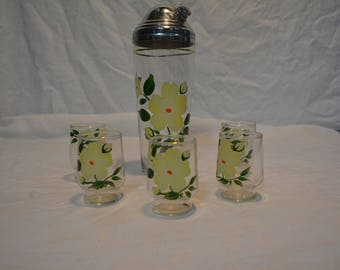 1960s Fostoria Glass Martini Shaker with 5 Matching glasses