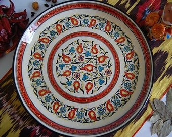 uzbek decorative ceramic vintage style handmade painted plate 0007