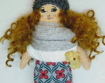 cloth doll rag doll textile doll nursery decor fabric doll vintage doll  dolls handmade toys art doll handmade tilda doll girl power