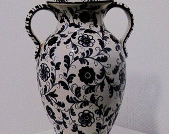 Guerieri Murano Ceramic vase Italy 50s – 60s hand painted height 28 cm